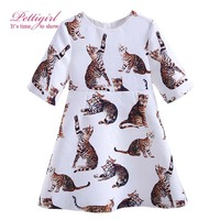 Pettigirl Latest Girls Daily Dresses Cats Printing Dress Daughter Casual Clothing Boutique Baby Fashion Costume G