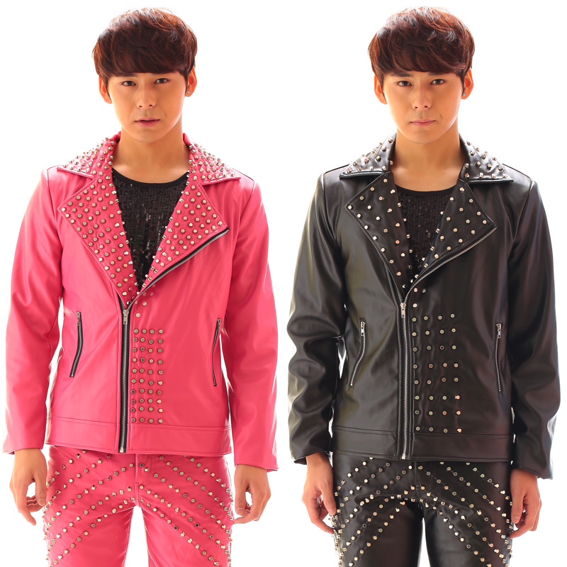 Fashion Personality Rivet Leather Motorcycle Jacket Punk style Men's leather pants party show stage performance wear