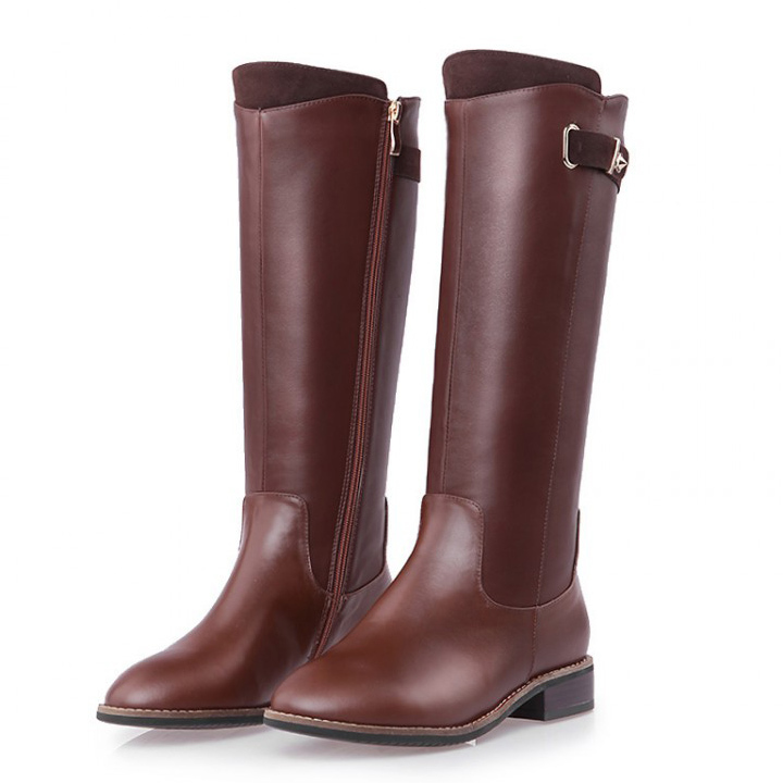 Free Shipping 2017 fashion martin Fashion-Knee-High Boots for women winter snow flats Leather boots Brown / black size 33-43 vpg wl1406 free shipping higher quality weight lifting knee sleeves for powerlifting crossfit knee pad for women and men
