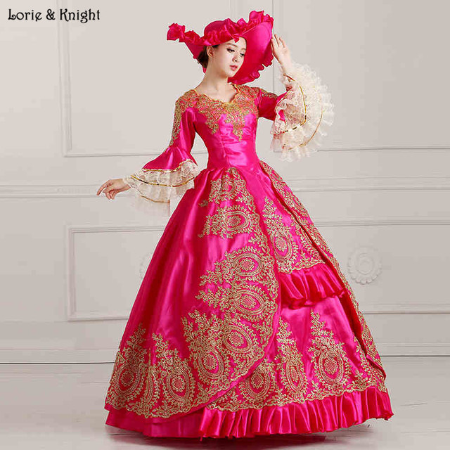 7fe79f906f10 Queen Marie Antoinette Inspired Masquerade Dress Princess Royal Ball Gown/Stage  Costume FUSCHIA