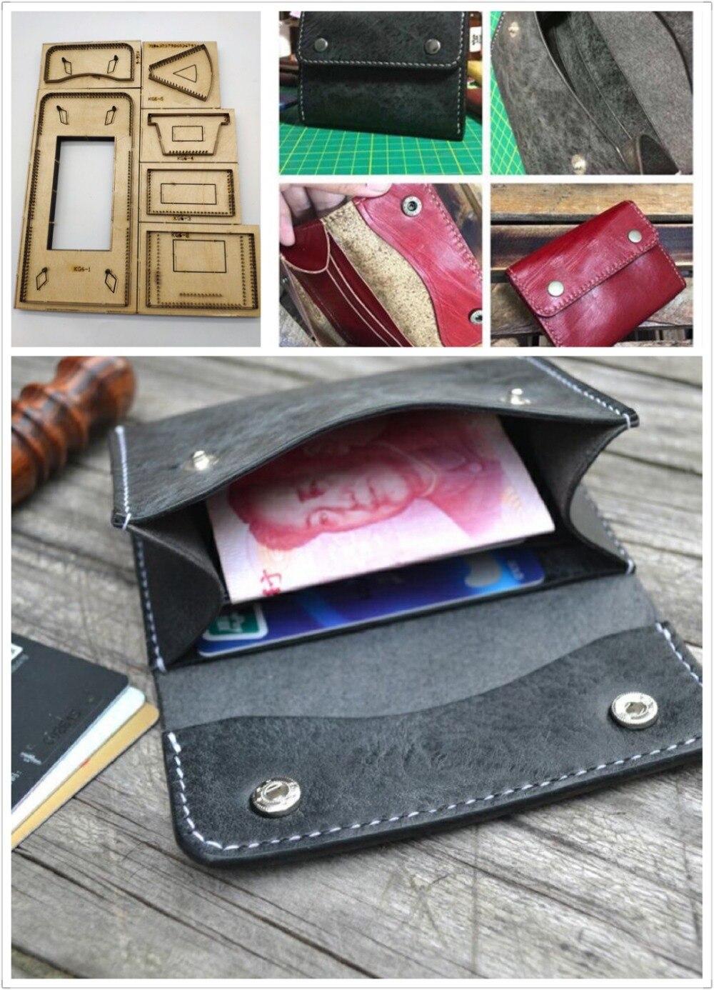 Cuir artisanat modèle cutter portefeuille porte carte découpe couteau moule en cuir trou poinçons outil ensemble deri el aletleri - 3