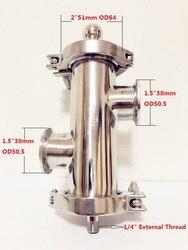 Gratis Verzending 2 (51mm) OD64 Gin Mand Set Voor Destillatie, 2 * Side Poorten 1.5 (38mm) OD50.5 Met Filter Van V-180ml, SS304