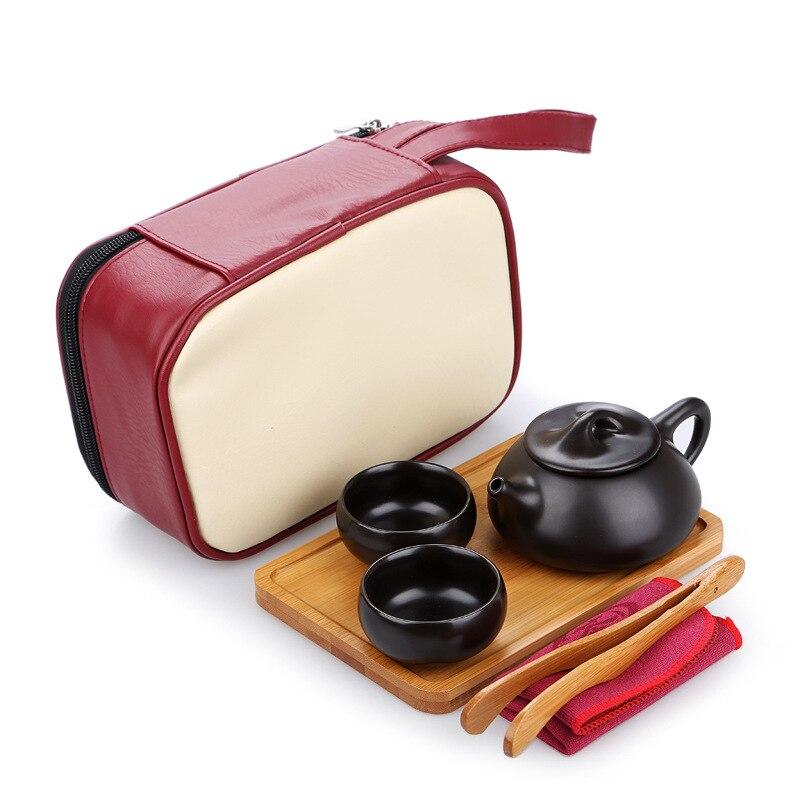 Ensembles de thé en porcelaine de voyage en céramique chine Puer boire thé chinois Kung Fu thé Portable voyage thé ensemble à la main théière tasses