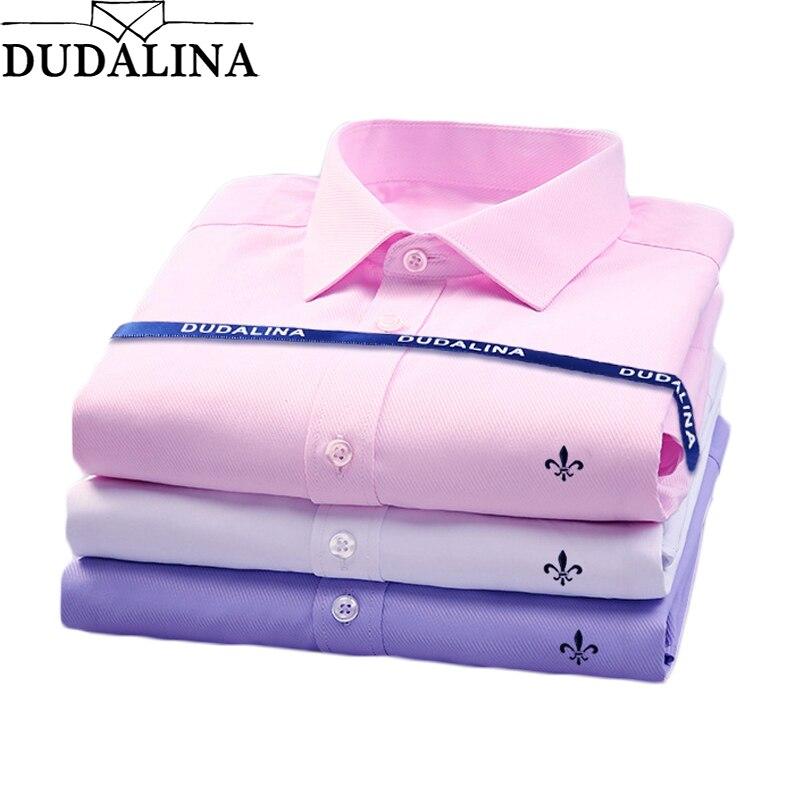 Dudalina 3pic sin bolsillo casuales de los hombres de manga larga camisa Slim Fit Hombre Negocio Social vestido marca cómodo suave-in Camisas casuales from Ropa de hombre    1