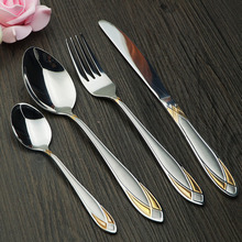 Hot Sale Stainless Steel Dinnerware Fork 24 Pieces Cutlery Spoon Flatware Set Mirror Hand Polish Household Dinner Set On Sale