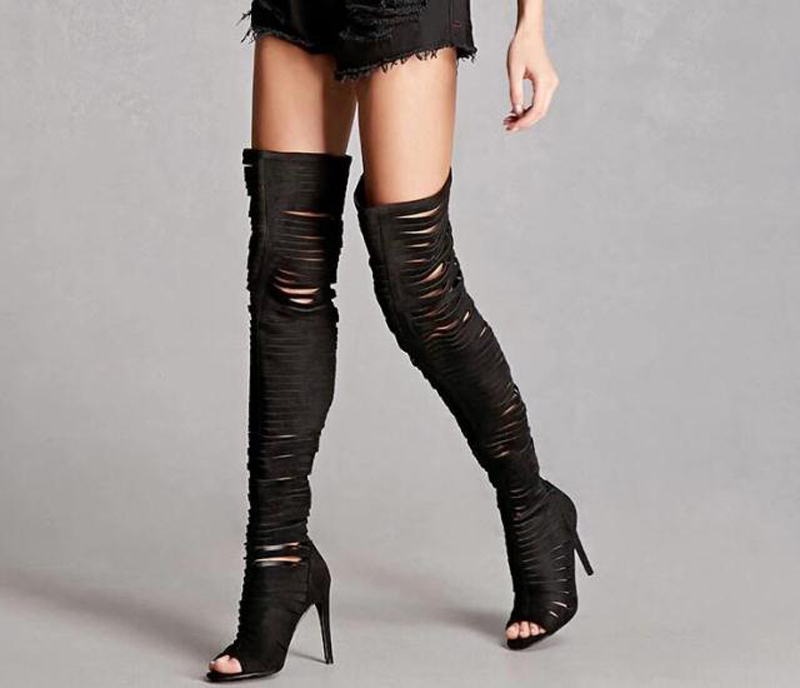 Hot Sale Sexy Women Black Suede Thigh High Boots Cut-Outs Gladiator Over-the-Knee Sequins Booty Strange Style Party Women Shoes hot boots women sexy black thigh high boots peep toe soft leather back zip high heels over the knee boots gladiator sandal boots