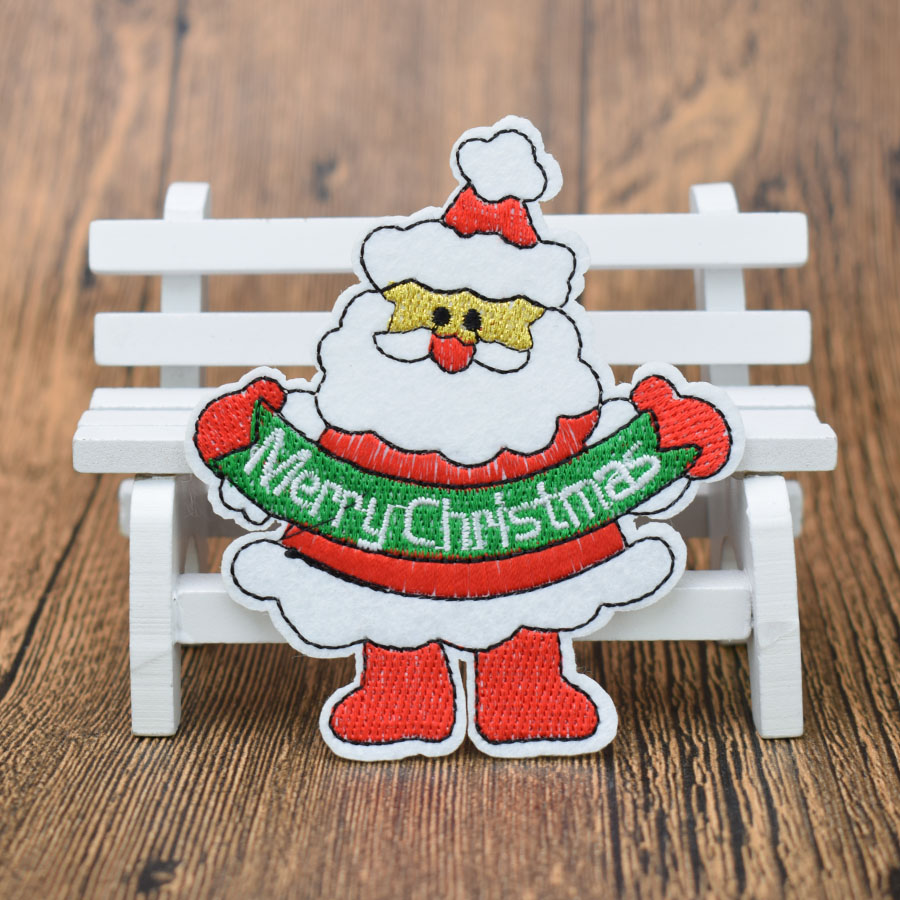 NOEL MERRY HAPPY CHRISTMAS Embroidered Sew Iron On Cloth Patch Badge APPLIQUE