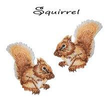 1 par Esquilo Bordado Patch de Ferro em ou Camisa Saco De Retalhos de Tecido para Roupas de Costura Applique Patches Bonito Remendo Animais