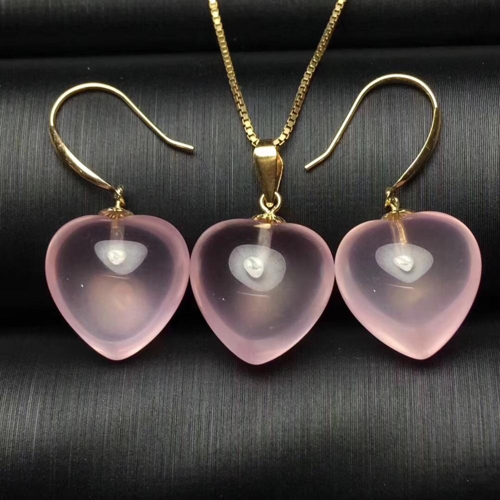 Pierre gemme Rose de Quartz de couleur Rose et collier pour des femmes avec l'or 18 K