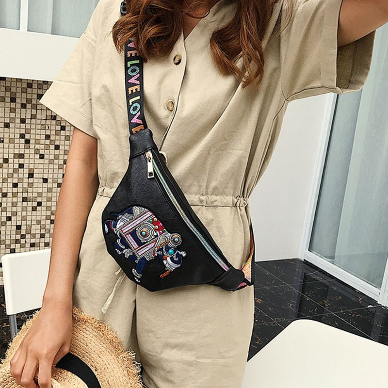 Women Elephant Embroidery Fanny Pack Travel Waist Bag PU Leather Purse Bum Bags