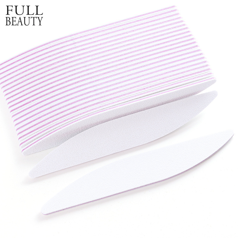 купить 5pcs White Nail Files Moon Style Form Manicure Sanding Buffer Block 100/180 UV Gel Polish Nail Art Washable Sandpaper Tool CHA25 по цене 99.96 рублей