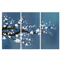 Flower Painting 3 Pieces Canvas Prints White Plum Blossom Contemporary Abstract Floral Picture Teal Blue Artwork For Living Room