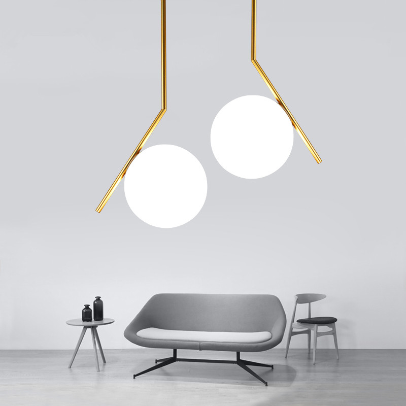 Post Modern Simple Restaurant Pendant Lamp Northern Europe Creative Living Room Bedroom White Glass Round Ball Decoration Light