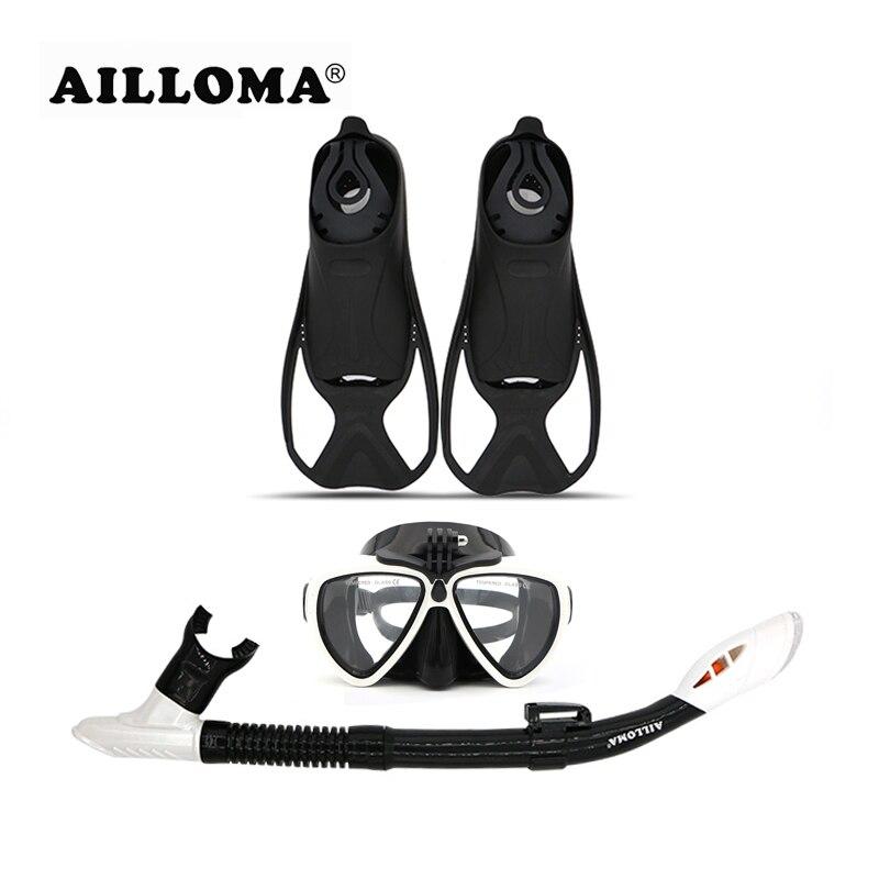 AILLOMA blanc caméra masque de plongée palmes de plongée adulte Tube complet sec Flipper professionnel plongée sous-marine Anti-buée lunettes de natation ensembles