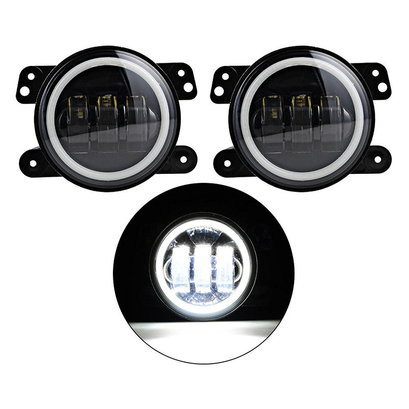 4 Inch Round Fog Lights 30W Front Bumper Halo Fog Lights for Jeep Wrangler Chrysler 300 PT Cruiser 05-10 L25 windshield pillar mount grab handles for jeep wrangler jk and jku unlimited solid mount grab textured steel bar front fits jeep