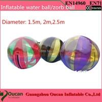 2m diameter transparent PVC inflatable water ball, water walking ball, zorb ball + freeshipping