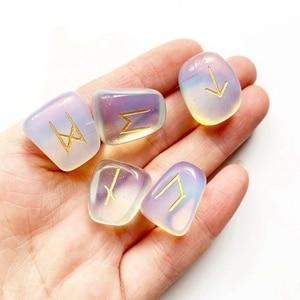 Image 5 - Juego de Runas de Piedra ópalo de opalita blancas, amuleto de piedras caídas de adivinación, vikingas runas, piedras, Burbuja, manualidad casera Feng Shui
