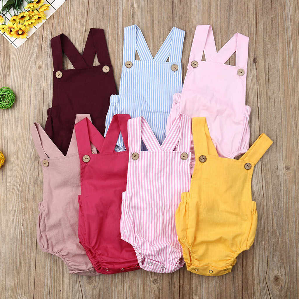 Toddler Baby Kids Girls Boys Sleeveless Solid Stripe Romper Sunsuit Clothes baby twin clothes summer peleles verano bebe