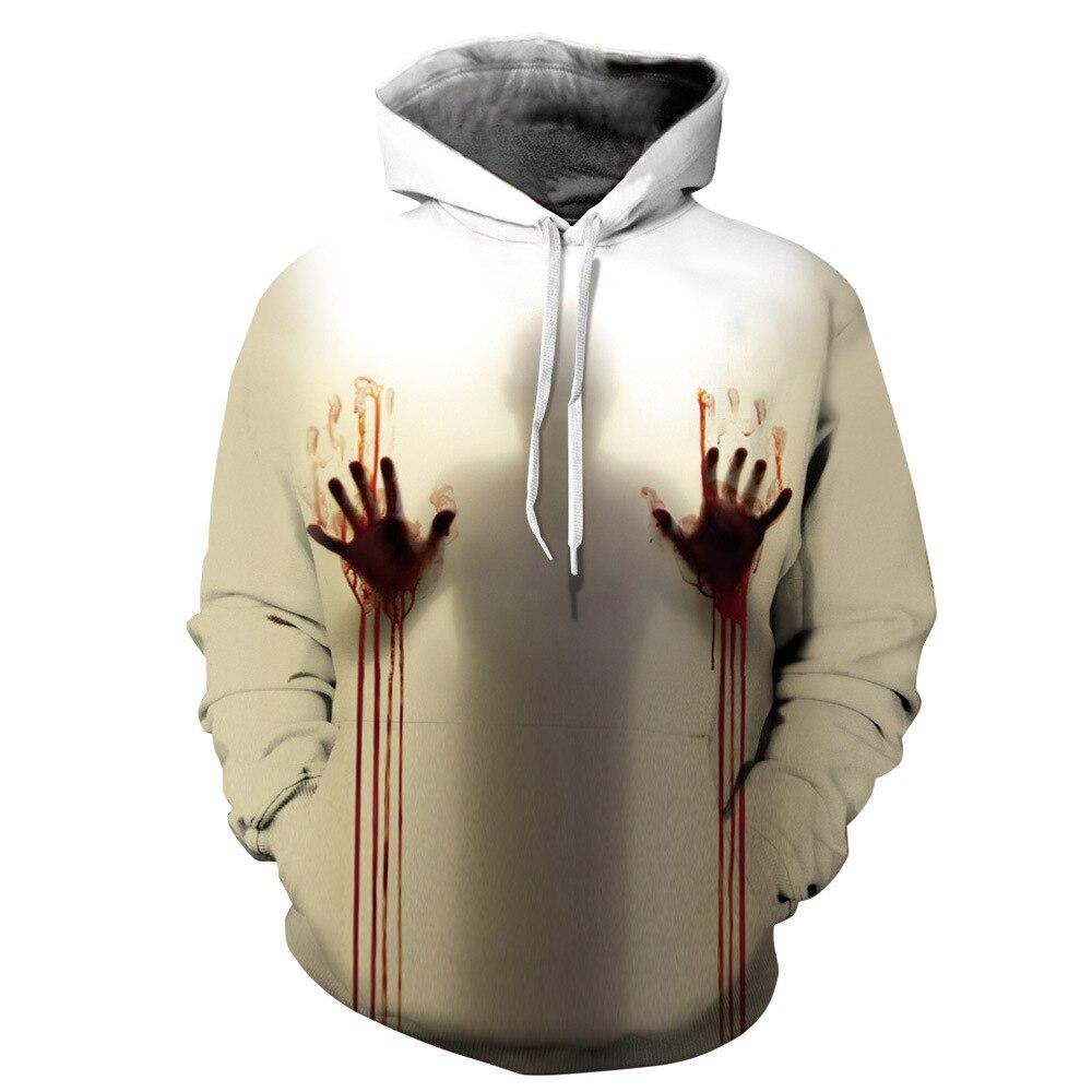 Red Bloody hands hurt print Men's hoodie 2019 New creative design Shine Without Darkne War Mans Casual Gothic Sweatshirts 6XL