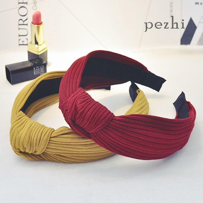 New hairdressing headdress fabric knitting lady cross-knot HairHoop HairAccessories broadband stripe Knotting hoop   Headwear