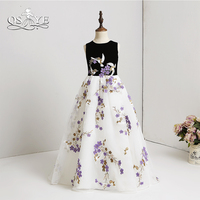 QSYYE 2018 New Arrival Flower Girl Dresses 3D Floral Lace Flowers Black Top White Tulle Girls Prom Party Gown Pageant Dress
