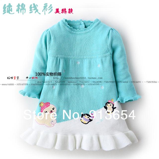 Nueva primavera 2014 niños del otoño del suéter vestido del bebé que arropan niño jersey punto niños se visten vestido de princesa niñas