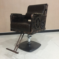 The new, wrought iron hairdressing chair. Hair salons haircut chair. Retro hairdressing chair hairdressing equipment