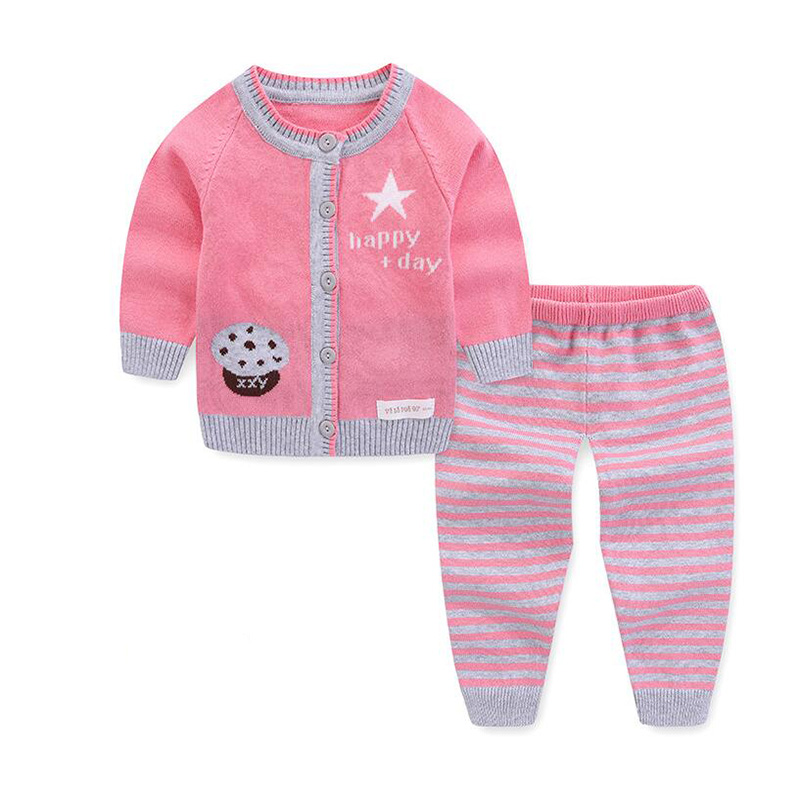 BibiCola newborn toddler baby boy girl set wool knitted cotton sweater clothes sets infant warm cartoon sheep pullover pants set