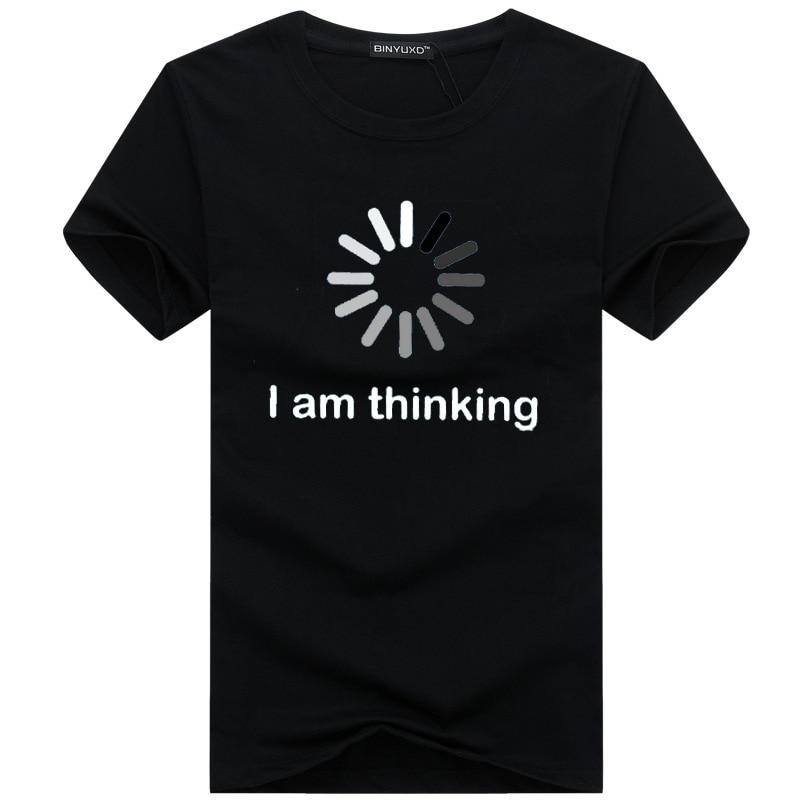 Hip Hop Men's   T     Shirts   Summer Brand Casual O-Neck Short Sleeve   T  -  shirt   Mens I'm Thinking Funny Printing Men's Tee   Shirts