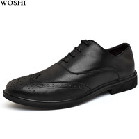 Men's Dress Shoes outdoor Blucher derby Shoes Gents Outfit Party Wedding genuine Leather Footwear brogue business men shoes L5