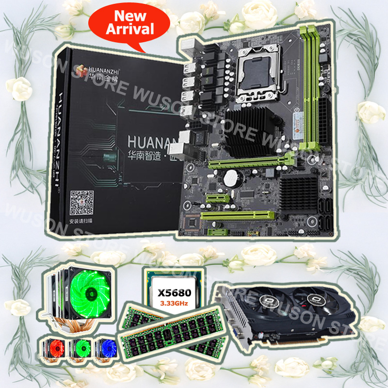 HUANANZHI X58 Pro motherboard processor Intel Xeon X5680 3.33GHz with cooler 16G memory DDR3 REG ECC GPU <font><b>GTX750Ti</b></font> 2G video card image