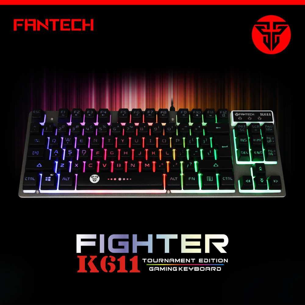 Fantech K611 Gaming Keyboard USB Wired Keyboard Computer Office Keyboard RGB Backlit Anti-Ghost 87 Keys For Gamer