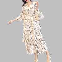 HAMALIEL Plus Size Chiffon Cascading Ruffles Boho Maxi Spring Dress Women White Dot Printed Gold Long Dress Holiday Cake Vestido