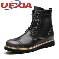Winter Casual Men High Top Boots Fashion Outdoor Warm Martin Boots Pu Leather Flats Shoes Mens