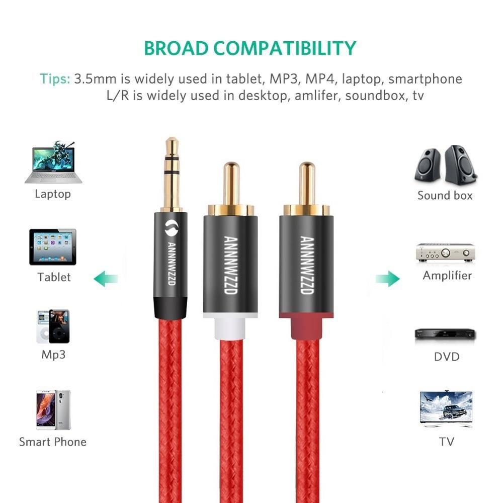 RCA Audio Cable 2RCA Male To 3.5mm Jack To 2 RCA AUX Cable Nylon Braided Splitter Cable For Home Theater Iphone Headphone