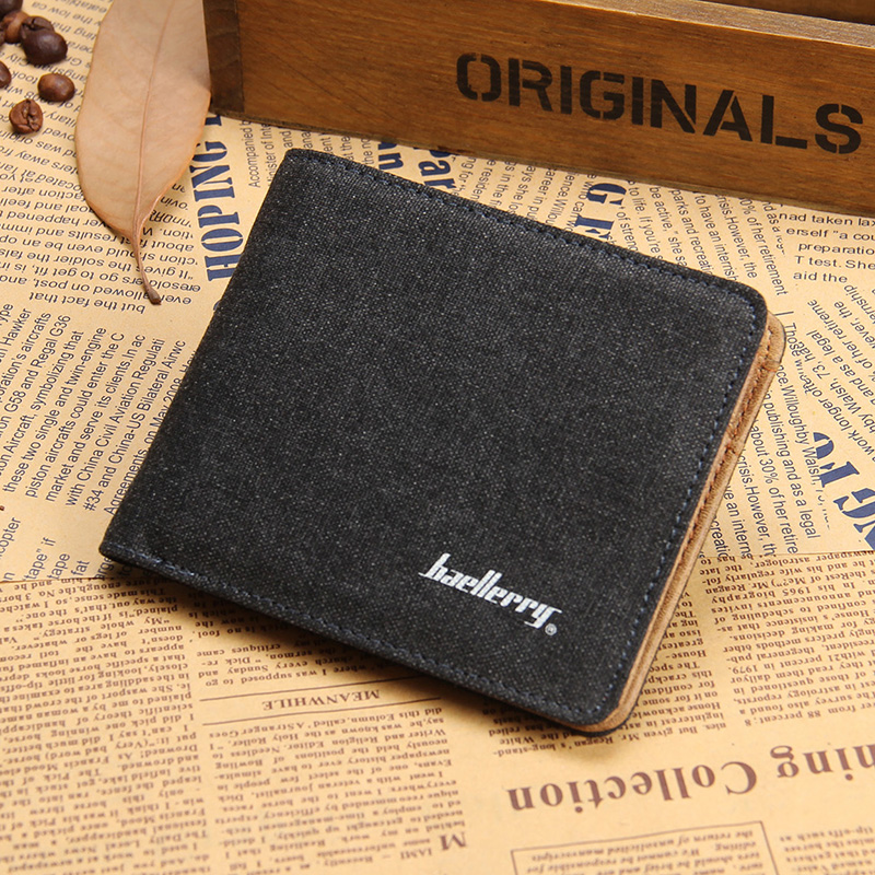 Classical Black Brown Fashion Quality Men Wallets Canvas Zip Pocket Photo ID Bit Credit Card Holders Purse Wallet Free Shipping metal credit card wallet women men bank card bag black card case bus id holders identity badge with badge reel py062