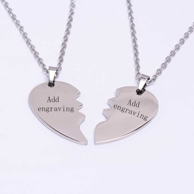 5b22bb6e634c Custom Personalized Name ID Couples Necklaces Broken Heart Pendants for  Women Men Friendship BFF Stainless Steel Jewelry Gifts