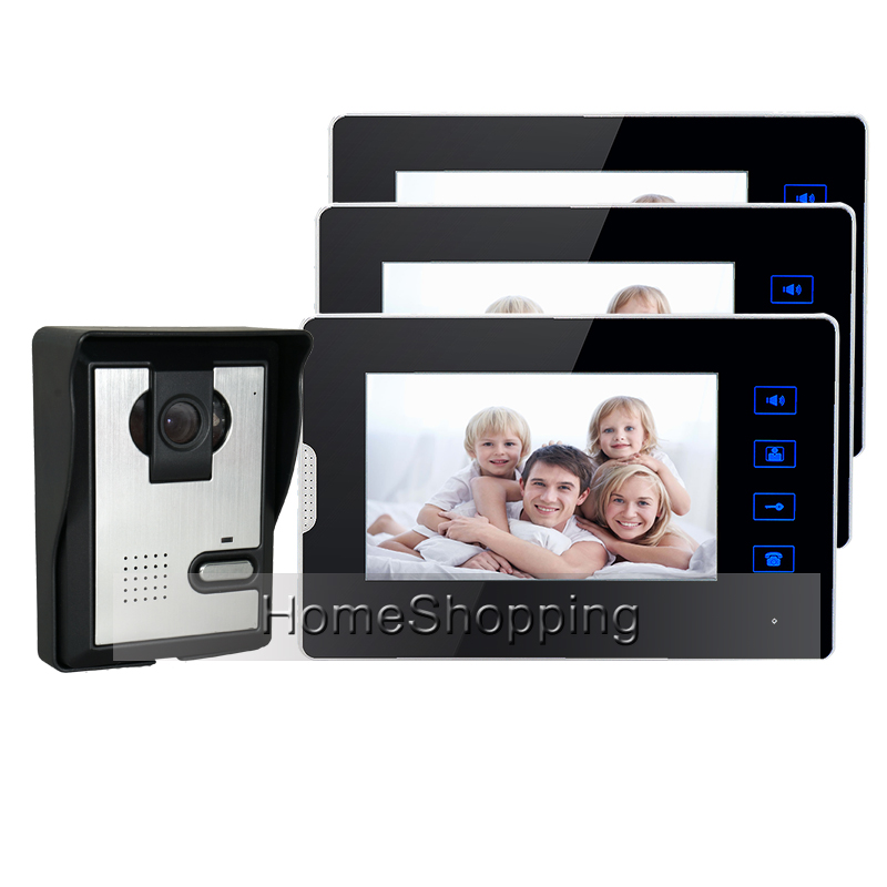 FREE SHIPPING New 7 Color Touch Screen Video Door Phone Intercom With 1 Night Vision Door bell Camera + 3 Monitors In Stock free shipping new wired 7 color tft touch screen video doorphone intercom 1 white monitor night vision door camera in stock