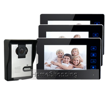 FREE SHIPPING New 7″ Color Touch Screen Video Door Phone Intercom With 1 Night Vision Door bell Camera + 3 Monitors In Stock