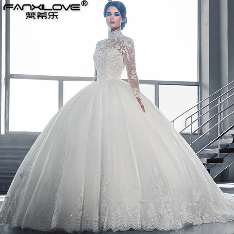 Wedding Dress Beautiful White Ball Gown Wedding Dress Lace Sheer Neckline Long  Sleeve Tulle Wedding Dress Vestidos De Noiva 2016-in Wedding Dresses from  ... 3d939dbf4d73