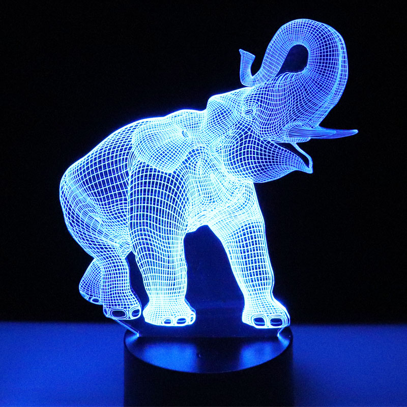 MYDKDJL 3D LED Nacht Licht Dance Elefant mit 7 Farben Licht für Home Dekoration Lampe Erstaunliche Visualisierung Optische Illusion