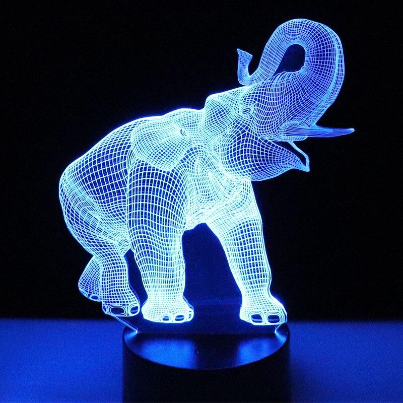 MYDKDJL 3D LED de luz de la noche de baile elefante con 7 colores de luz para el hogar Decoración lámpara increíble visualización ilusión óptica