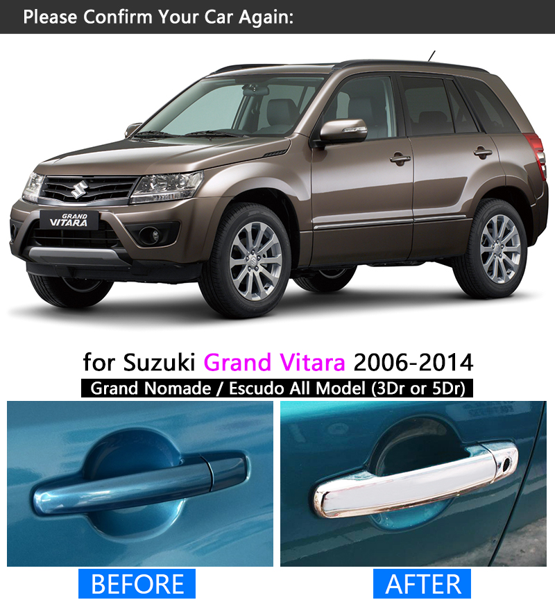 Mirror Chrome Side Door Handle Cover Trims For 2006 2007 2008 2009 2010 Suzuki Grand Vitara 5-Door 5DR Version Brand New 10Pcs