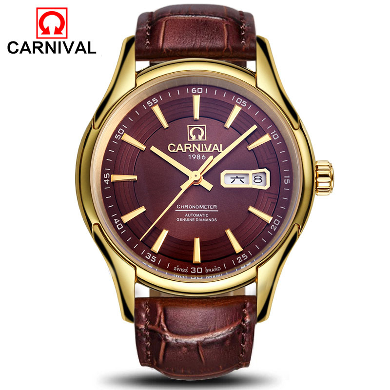 Carnival Watch Men Hollow Automatic Mechanical Luminous Stainless Steel Waterproof Date Week Full Brown Watches