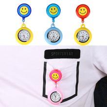Карманные часы для женщин с улыбающимся лицом, кварцевые часы с выдвижной веревкой для медсестры, милые цветные часы с подвеской для доктора