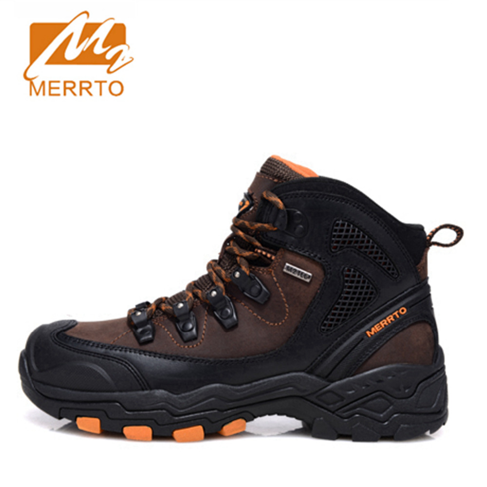 2017 Merrto Mens Hiking Boots Waterproof Outdoor Sports Shoes Trekking Shoes Full-grain leather For Men Free Shipping MT18573