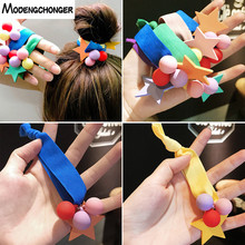 High Elastic Colour Many Beads Hair Tie Star Band Ponytail Holder Rope Scrunchies Girls Sweet Accessories
