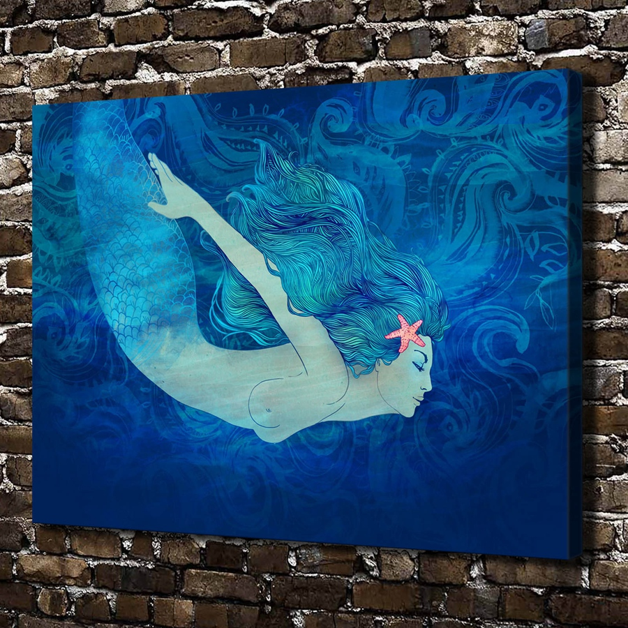 0476 Sexy Naked Mermaid Girl Figures Scenery Hd Canvas -7645