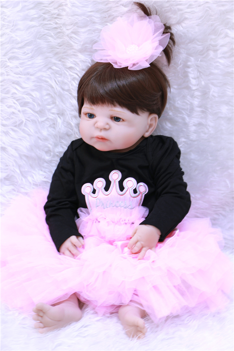 Bebe princess reborn 22 55cm full body silicone reborn baby girl dolls purple clothing can enter