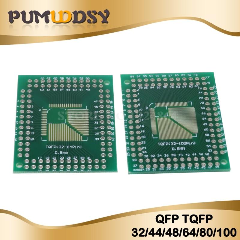 5PCS FQFP TQFP 32 44 64 80 100 LQFP To DIP Transfer Board DIP Pin Board Pitch Adapter